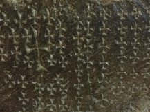 Crosses etched into the walls of the Church of the Holy Sepulchre